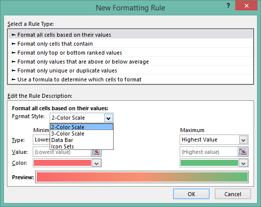 Excel 2013 - Conditional formatting - color scales