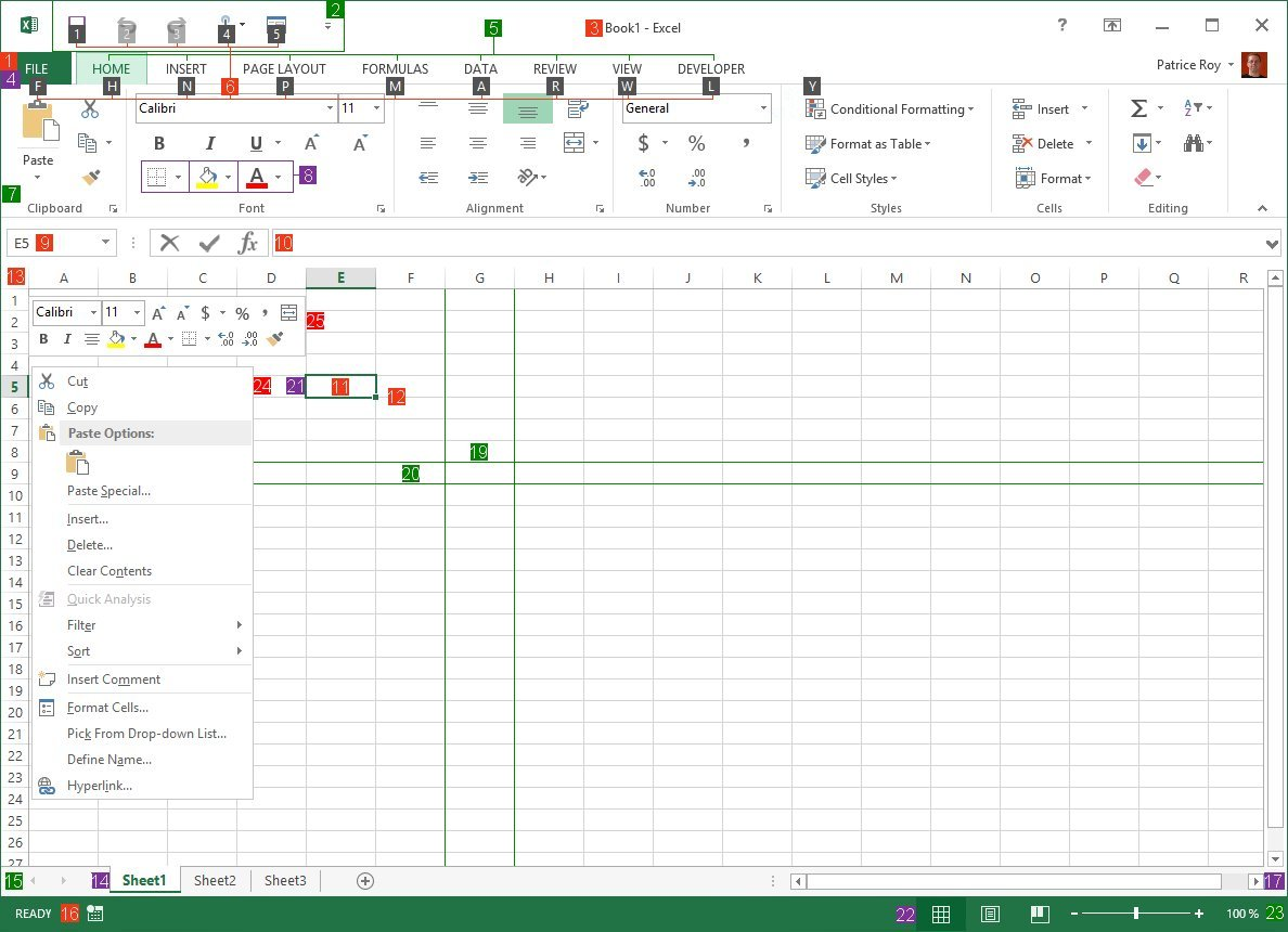 Excel main screen